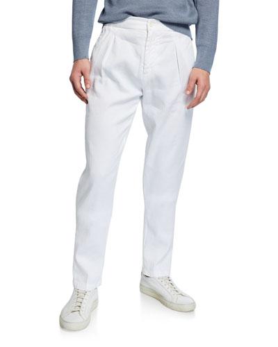 Men's Solid Linen/Cotton Pleated Pants