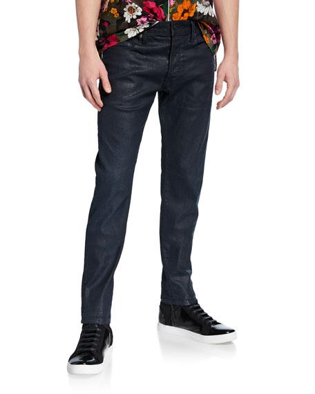 G-Star Men's 3301 Coated Slim-Leg Jeans