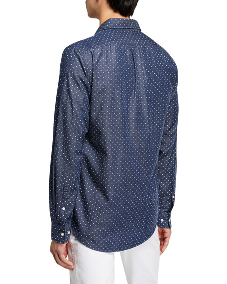 Michael Kors Men's Dot-on-Chambray Slim-Fit Sport Shirt