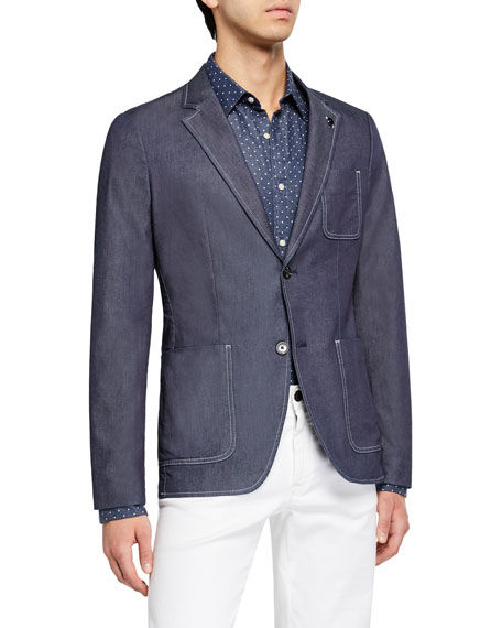 Michael Kors Men's Chambray Patch-Pocket Two-Button Jacket