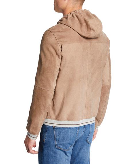 Ruffo Men's Suede Zip-Front Hoodie
