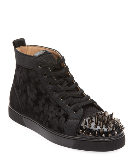Christian Louboutin Men's Lou Pik Pik Orlato High-Top Spiked Sneakers