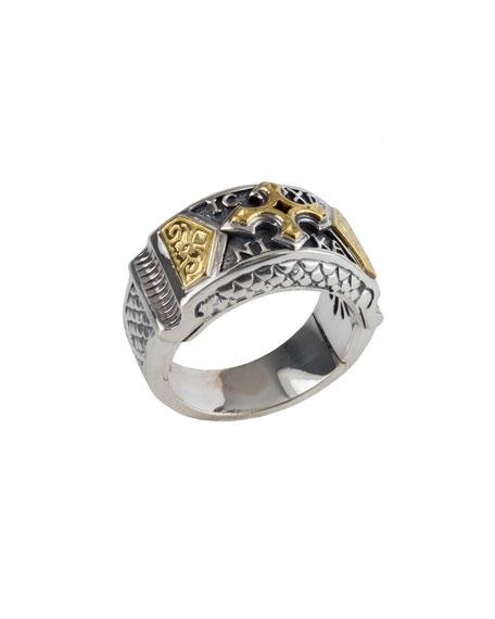 Konstantino Men's Sterling Silver Band Ring w/ 18k Gold Cross