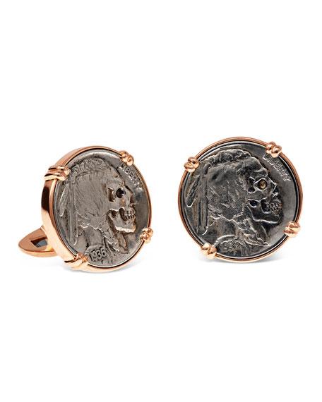 Jorge Adeler 18K Rose Gold Cufflinks w/ Hobo Nickel Coins