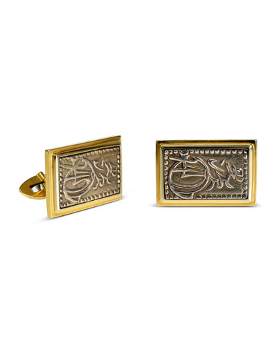 Men's Ancient Samurai Coin 18K Gold Cufflinks