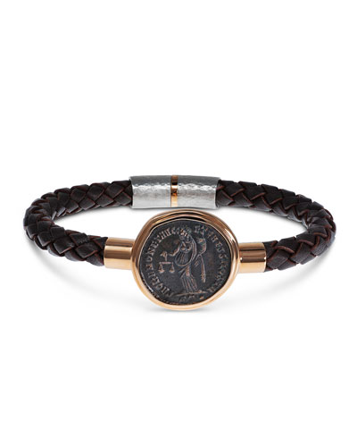 Men's Ancient Moneta Coin Braided Leather Bracelet