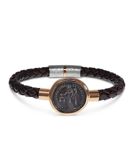 Jorge Adeler Men's Ancient Moneta Coin Braided Leather Bracelet