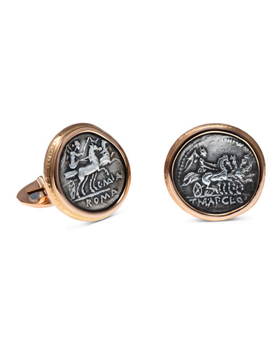 Men's Ancient Victoria Coin 18K Rose Gold Cufflinks
