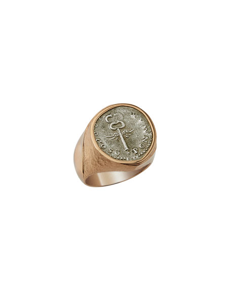 Jorge Adeler Men's Ancient Winged Caduceus Coin 18K Gold Ring