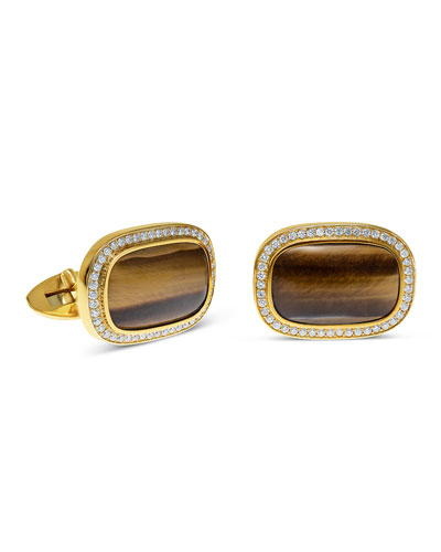 18k Gold Tigers Eye and Diamond Cufflinks