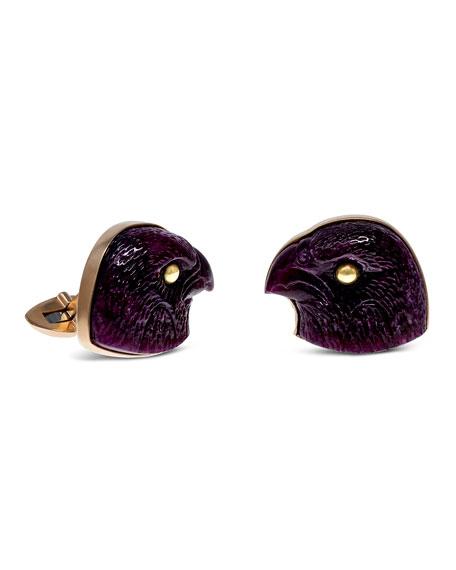 Jorge Adeler Carved Ruby Falcon 18k Gold Cufflinks