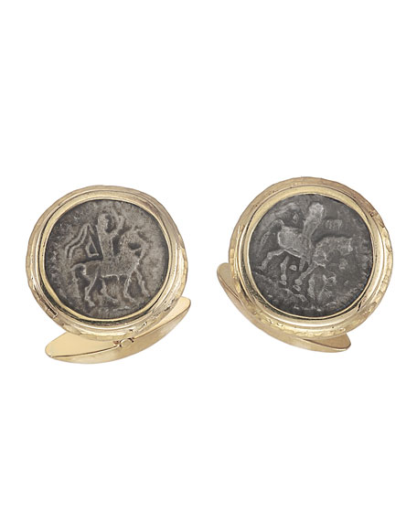 Jorge Adeler Men's Ancient Azes II Coin 18K Gold Cufflinks