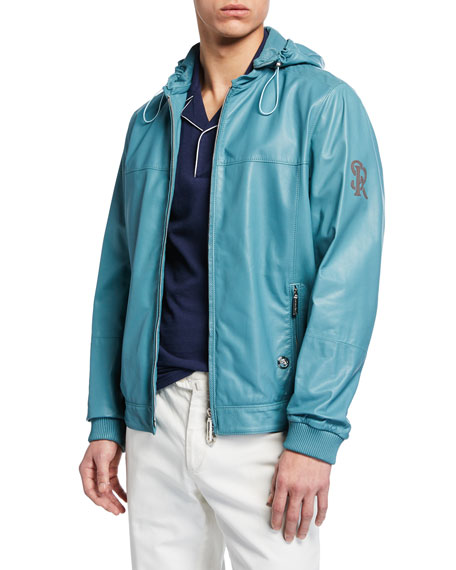 Image 1 of 3: Stefano Ricci Men's Hooded Leather Zip-Front Jacket