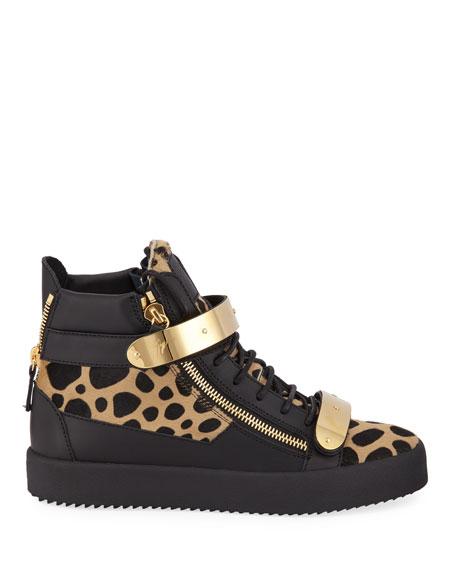 Giuseppe Zanotti Men's Leopard High-Top Calf Hair Sneakers