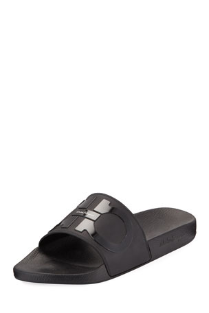 Salvatore Ferragamo Men's Groove 2 Rubber Slide Sandals