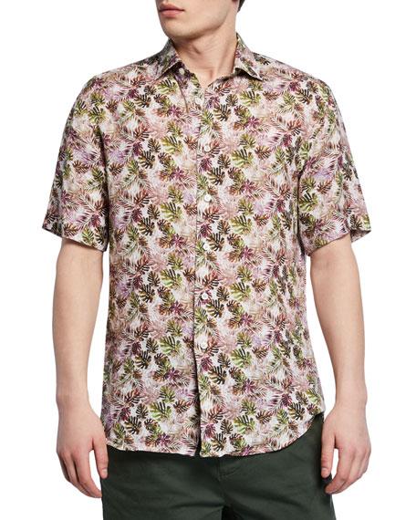 Neiman Marcus T-shirts Men's Palm Leaf-Print Short-Sleeve Sport Shirt