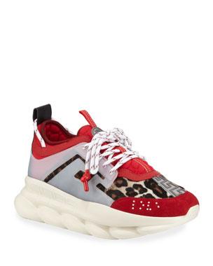 f657cdda8 Versace Men s Animal Chain Reaction Leopard-Print Sneakers