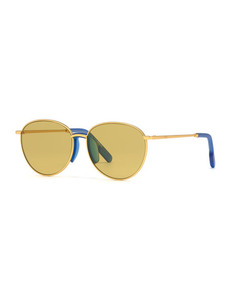 Image 1 of 2: Kenzo Men's Round Metal Sunglasses w/ Injected Plastic Trim