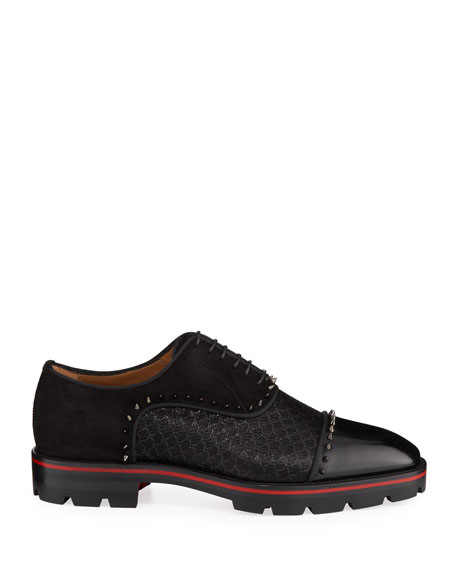 Christian Louboutin Men's Champignac Red-Sole Spiked Leather Jacquard Oxford Shoes