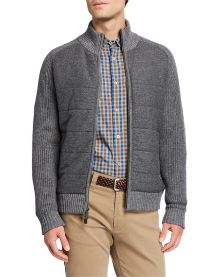 Neiman Marcus Men's Wool Front-Zip Sweater
