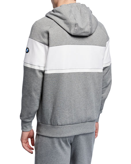 Puma Men's BMW MMS Striped Logo Hooded Sweat Jacket, Gray