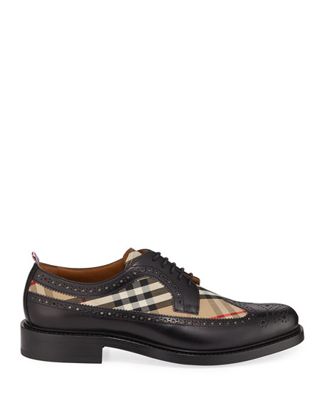 Burberry Men's Arndale Vintage Check & Leather Wing-Tip Derby Shoes