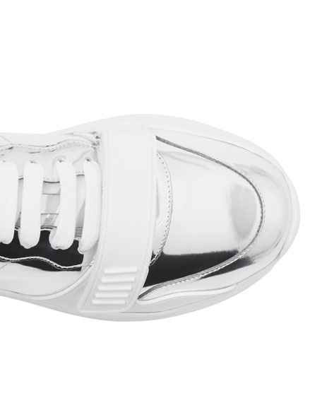Burberry Men's Ramsey Metallic Leather Chunky Sneakers