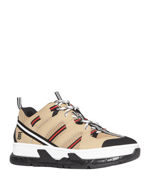 Burberry Men's Union Icon Stripe Mesh & Leather Sneakers