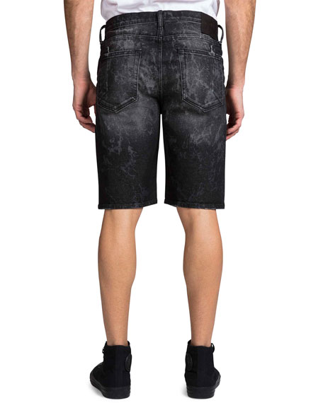 Image 2 of 2: Men's Double Rip Bleached Denim Shorts