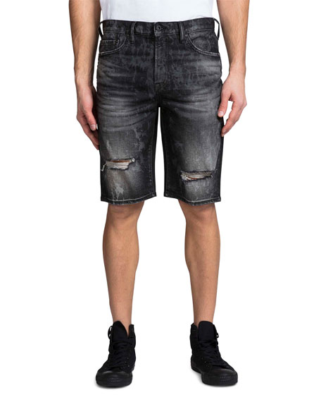 Image 1 of 2: Men's Double Rip Bleached Denim Shorts