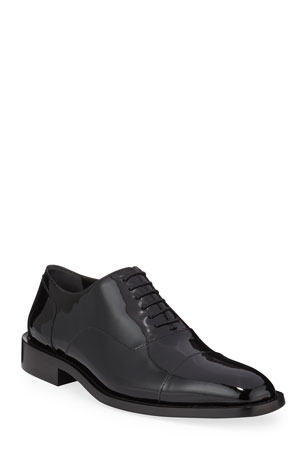 Balenciaga Men's Chrystal Patent Leather Oxford Shoes