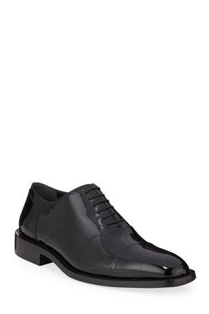 Balenciaga Men's Chrystal Patent Leather Oxford Shoes