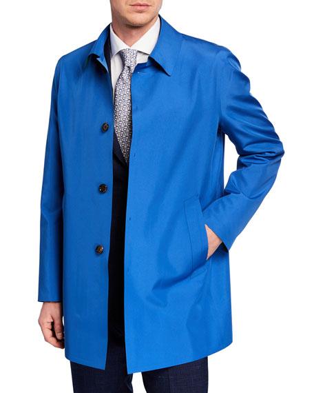 Kired Men's Spread-Collar Rain Coat, Green/Blue