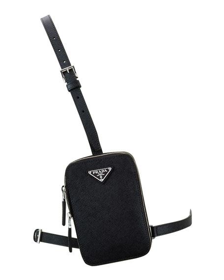 Prada Men's Saffiano Leather Mini Square Crossbody Bag