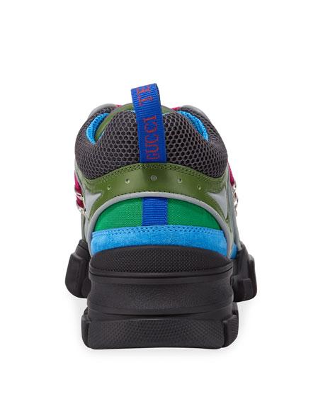 Gucci Men's Flashtrek Mixed-Media Colorblock Sneakers
