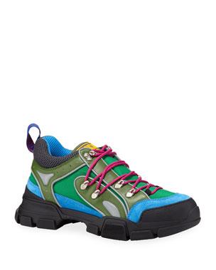 052b6fbd9 Gucci Men's Flashtrek Mixed-Media Colorblock Sneakers