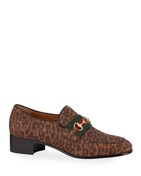 Gucci Men's Aylen Leopard-Print Suede Slip-On Loafers