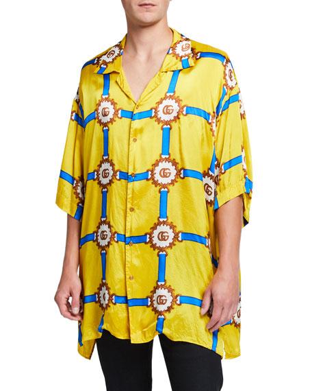 Gucci Men's Oversized Silky Logo Shirt