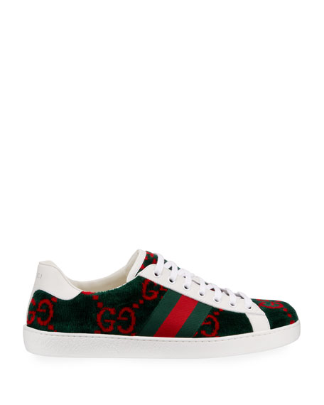 Gucci Men's New Ace Velour Low-Top Sneakers