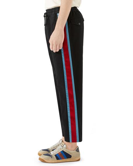 Gucci Men's Side-Stripe Cotton Twill Drawstring Pants