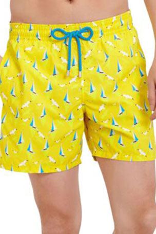 Vilebrequin Men's Moorea Boats-On-Water-Print Swim Trunks