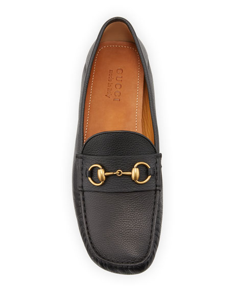 Gucci Noel Leather Horsebit Driver Loafers