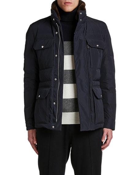 Moncler Men's Jean-Marc Puffer Coat w/ Fur Collar