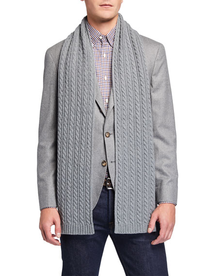 Eton Men's Cable-Knit Wool Scarf, Gray