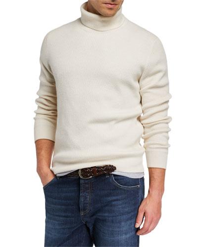 Men's Solid Cashmere Turtleneck Sweater