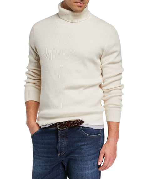 Brunello Cucinelli Men's Solid Cashmere Turtleneck Sweater