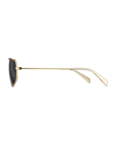 Celine Men's Golden Geometric Rectangle Sunglasses