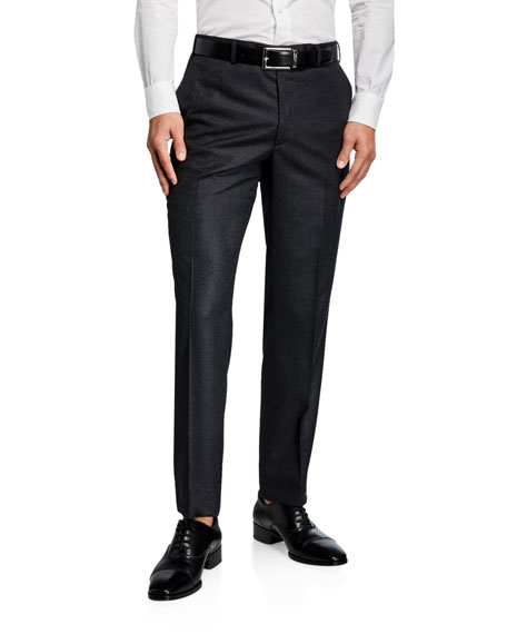 Brioni Pants Men's Flannel Wool Straight-Leg Pants