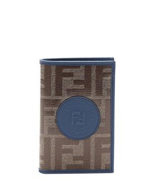 a8f01522 Fendi Men's Vetrificato FF-Canvas Vertical Bifold Wallet