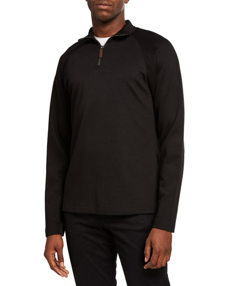 Vince Knits Men's French Rib-Knit Quarter-Zip Sweater